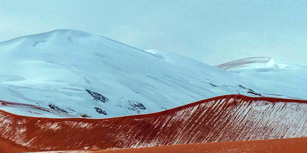 Herkes şaştı kaldı! Sahra Çölü'ne kar yağdı
