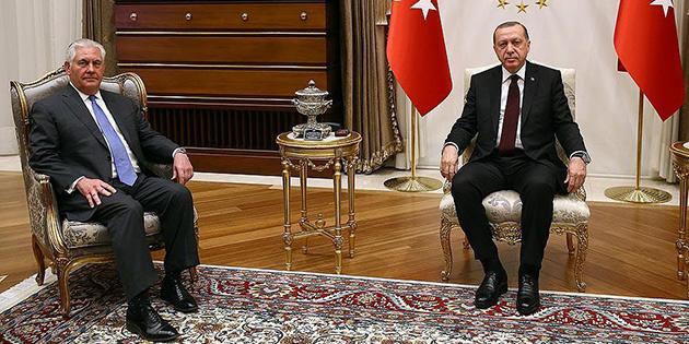 Türkiye Cumhurbaşkanı Erdoğan'ın Tillerson'ı kabulü başladı