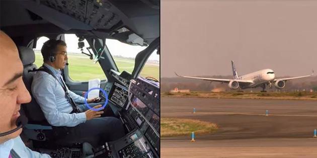 Airbus'a ait bir jet, pilotun müdahale etmediği ilk kalkışı gerçekleştirdi