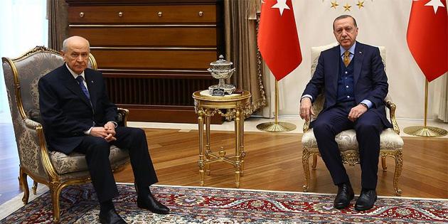 Cumhurbaşkanı Erdoğan ile Bahçeli Zeytin Dalı Harekatı'nı görüştü