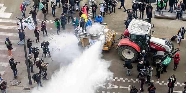 AB Konseyine 'süt tozu' ile protesto