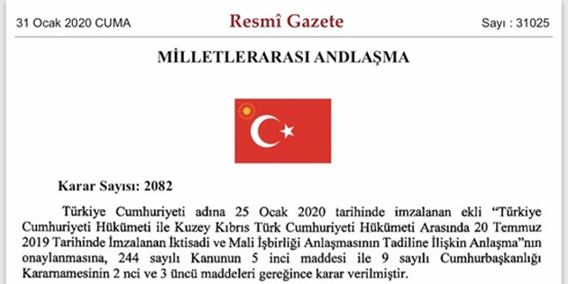 Erdoğan KKTC'ye 170 milyon TL destek içeren kararnameyi imzaladı