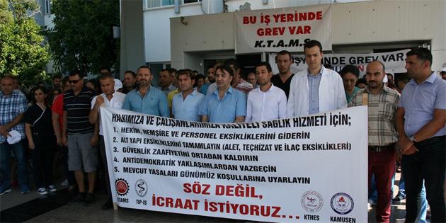 Dört sendika personel ve altyapı eksikliği gerekçesiyle devlet hastane ve sağlık merkezlerinde uyarı grevi yaptı
