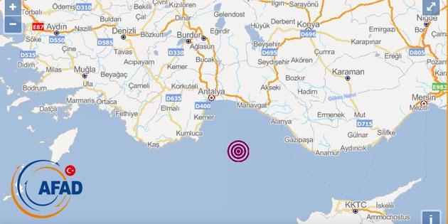 Akdeniz'de 5.2 şiddetinde deprem