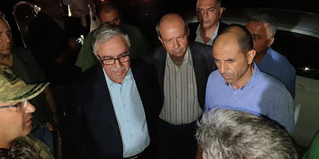 Cumhurbaşkanı Akıncı, Başbakan ve Dışişleri Bakanı yangın bölgesinde incelemelerde bulundu