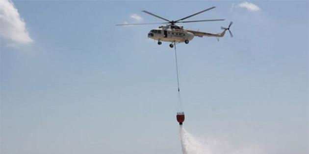 Rus yangın helikopterleri Baf Havalimanı'nda