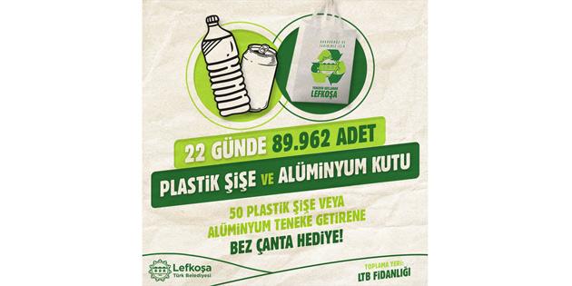 """""""Çöpe değil geri dönüşüme"""" kampanyasında 22 günde 89 bin 962 plastik şişe ve alüminyum kutu toplandı"""