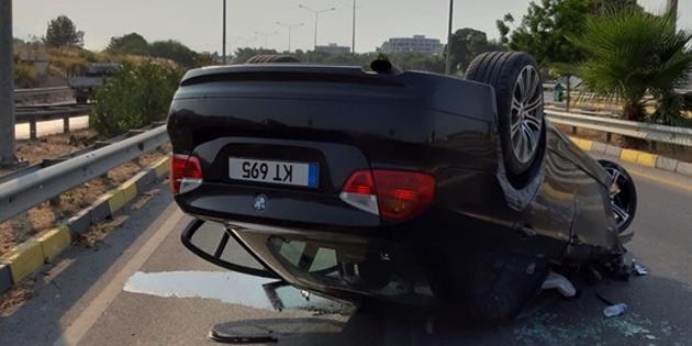 Girne-Alsancak çevre yolunda takla atan araçta 2 yaralı