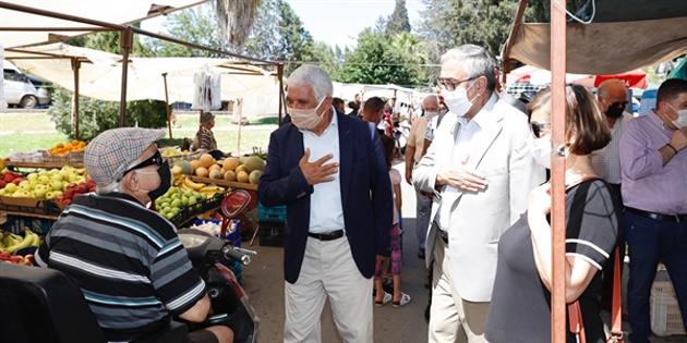 Cumhurbaşkanı Akıncı Güzelyurt açık pazarında esnaf ve yurttaşlarla bir araya geldi