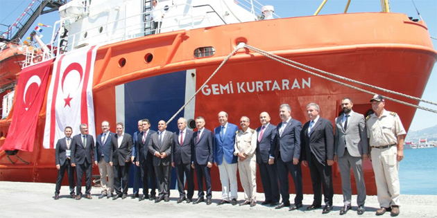 """""""Gemi Kurtaran"""" römorkörünün KKTC'de görevlendirilmesi töreni Girne Limanında gerçekleştirildi"""