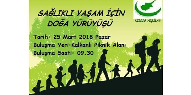 Kıbrıs Yeşilay, sağlıklı yaşam için doğa yürüyüşü düzenliyor