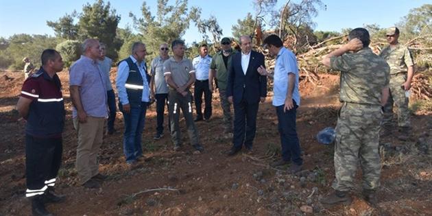 Başbakan Tatar, Tepebaşı'ndaki yangınla ilgili incelemelerde bulundu