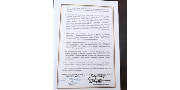 TC-KKTC iktisadi ve mali İŞ birliği anlaşması'nın içeriği açıklandı