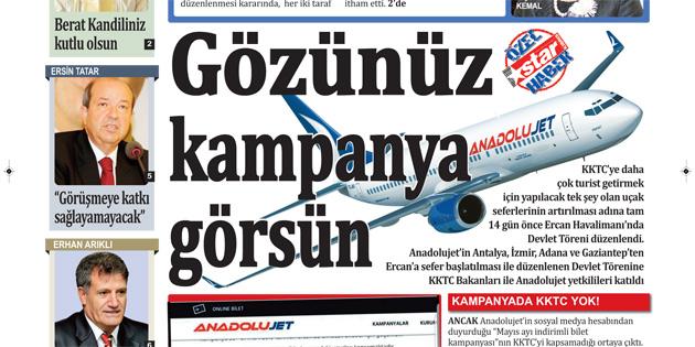 STAR KIBRIS YAZDI, ANADOLUJET İNDİRDİ
