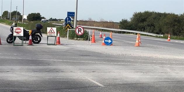 Lefkoşa-Gazimağusa ana yolunun Güvercinlik bölgesi trafiğe kapatıldı