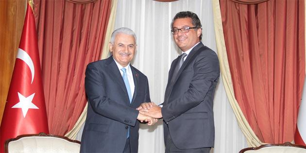 Binali Yıldırım Başbakan Tufan Erhürman'ı ziyaret etti