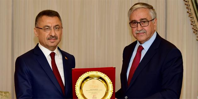 Cumhurbaşkanı Akıncı Fuat Oktay'ı kabul etti