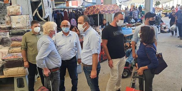 TDP heyeti, Merkez Lefkoşa'daki açık pazarı ziyaret etti
