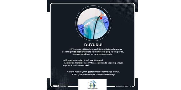 Çalışma ve Sosyal Güvenlik Bakanlığı'ndan antijen veya PCR testi şartı