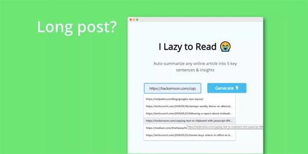 Uzun yazıları 5 cümleyle özetleyen girişim: I Lazy To Read